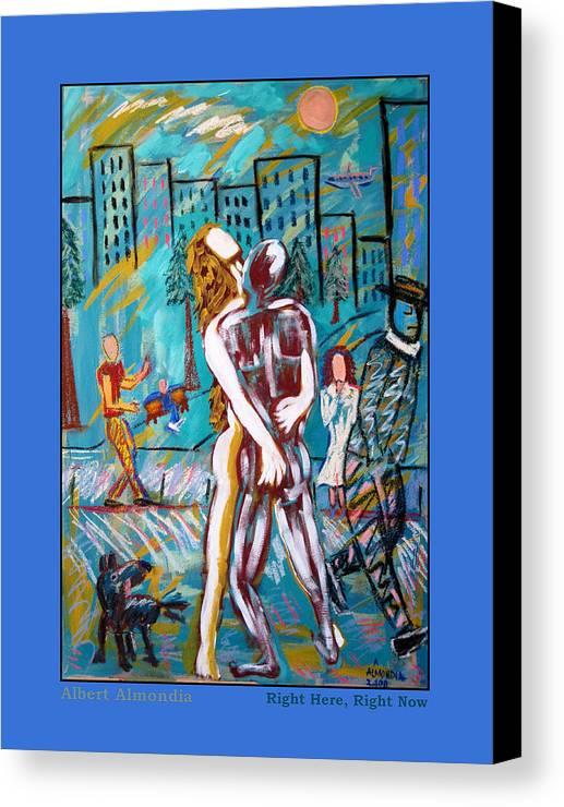 Mixed Media Canvas Print featuring the painting Right Here Right Now by Albert Almondia