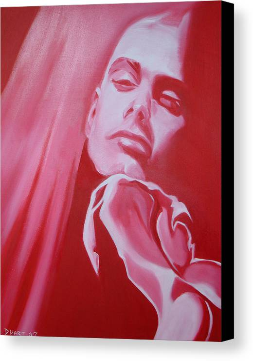 Erotic Male Portrait Abstract Red Canvas Print featuring the painting Fantasy by Davinia Hart