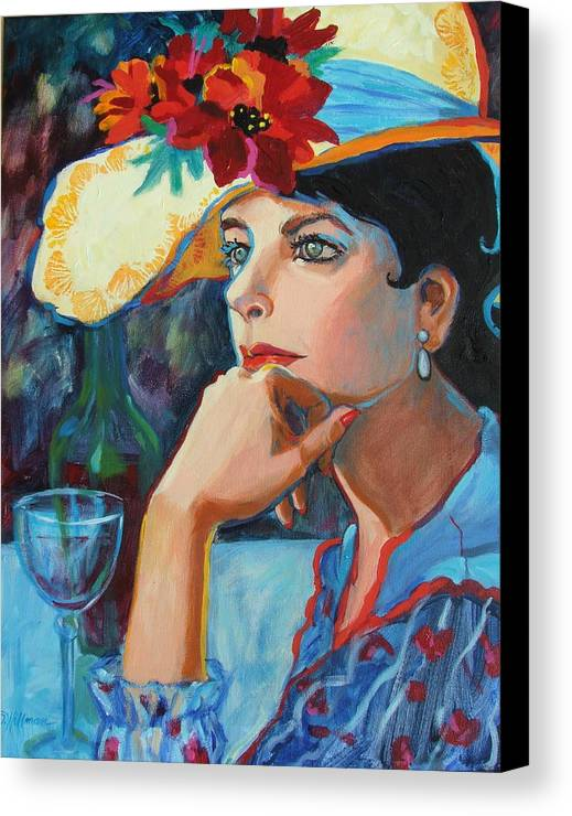 Pretty Lady Canvas Print featuring the painting La Chapeau by Dianna Willman