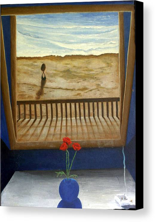 Figurative Canvas Print featuring the painting Lonely Beach by Georgette Backs