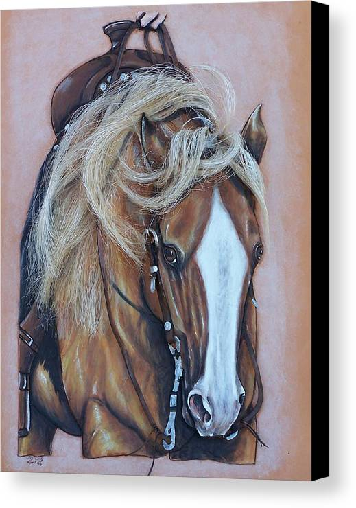 Horses Canvas Print featuring the painting Lopin Along by Lilly King
