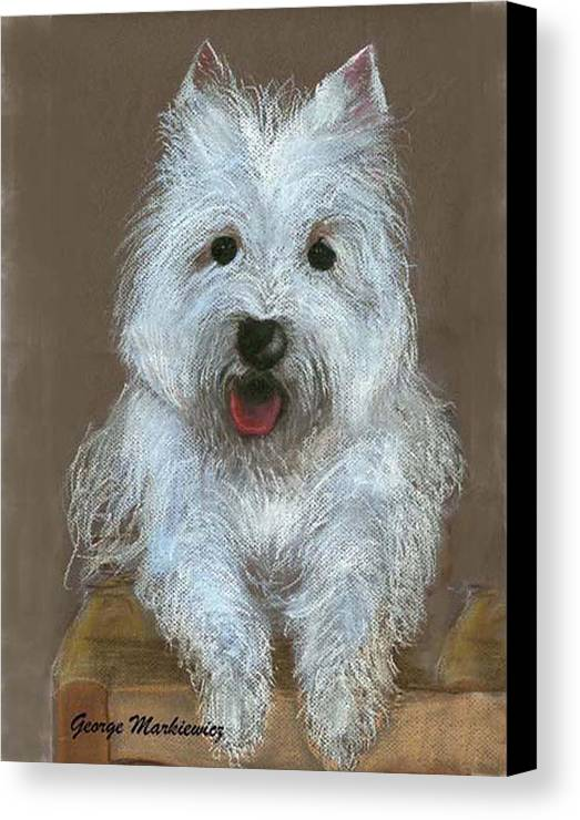 Dog Canvas Print featuring the print Marilyn by George Markiewicz