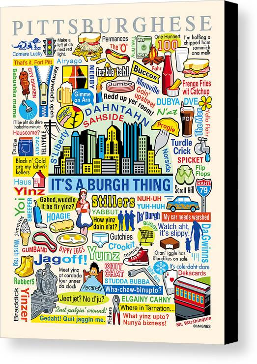 Pittsburgh Canvas Print featuring the digital art Pittsburghese by Ron Magnes