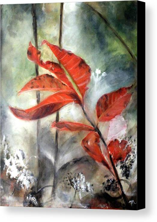 Red Leaf Canvas Print featuring the painting Red Leaves In Morning Mist by Michela Akers