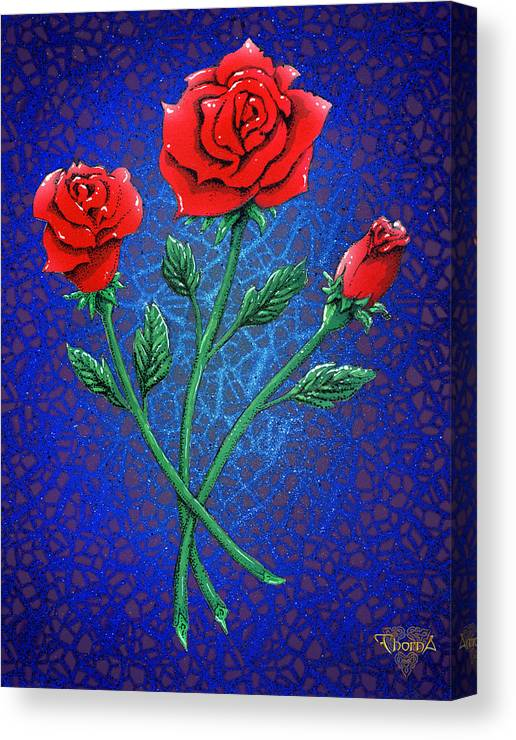 Digital Art Canvas Print featuring the digital art Three Roses by Greg Piszko