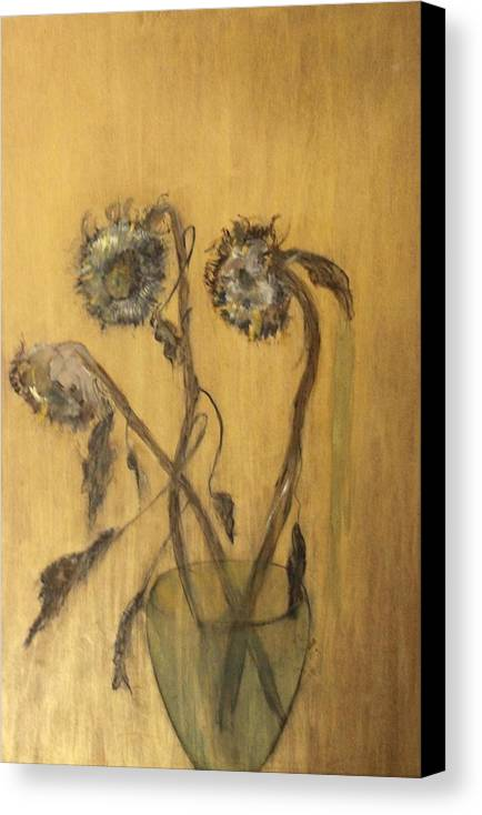 Floral Canvas Print featuring the painting Sunflowers On Gold by Michela Akers