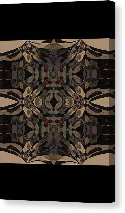 Abstract Wood Inlay Canvas Print featuring the digital art Wood Inlay by Amanji jill Duke