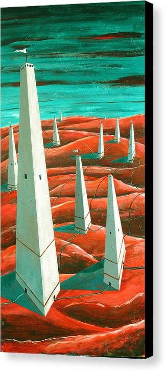 Landscape Canvas Print featuring the painting Power Tower by Rollin Kocsis