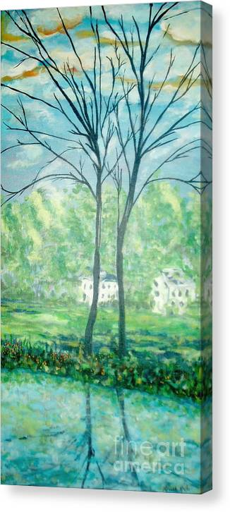 Landscape Canvas Print featuring the painting Twins By The Lake by Reina Resto