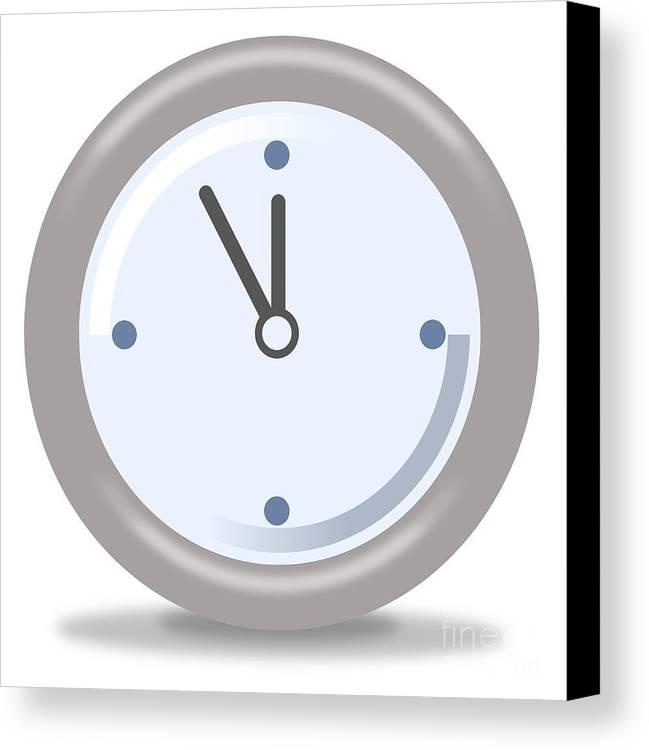 Clock Canvas Print featuring the digital art Clock Five Mintures Before Twelve by Henrik Lehnerer