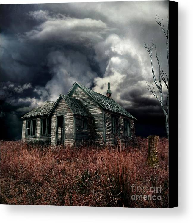 haunted House Canvas Print featuring the digital art Just Before The Storm by Aimelle