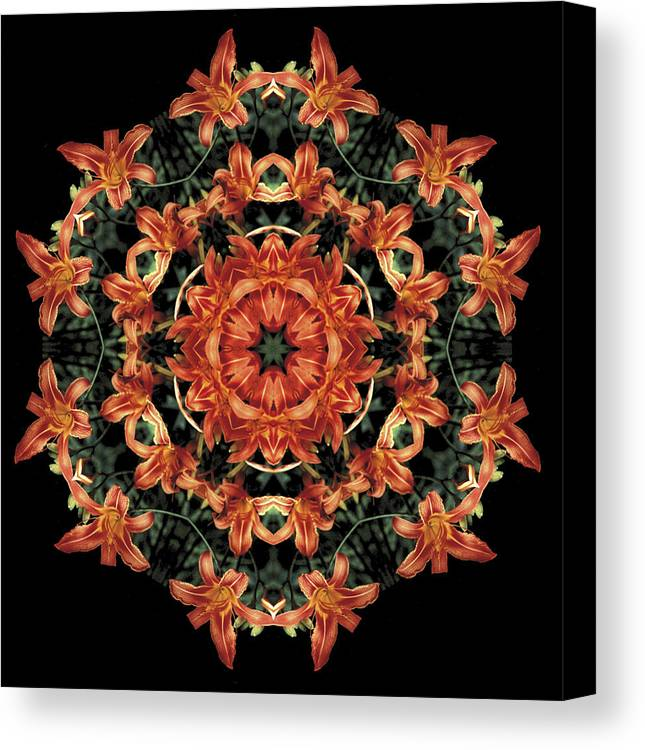 Mandala Canvas Print featuring the photograph Mandala Daylily by Nancy Griswold