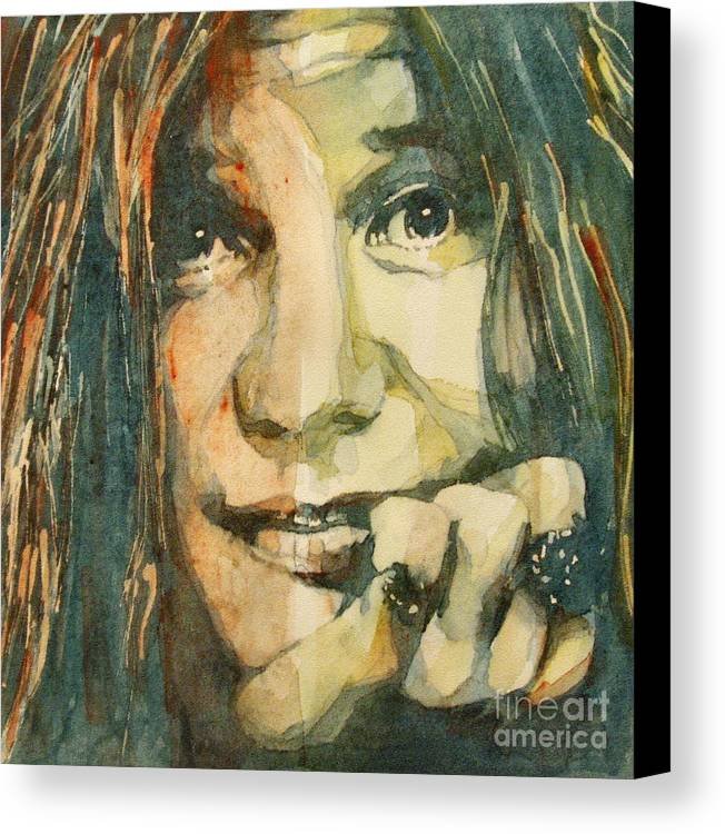 Janis Joplin Canvas Print featuring the painting Mercedes Benz by Paul Lovering