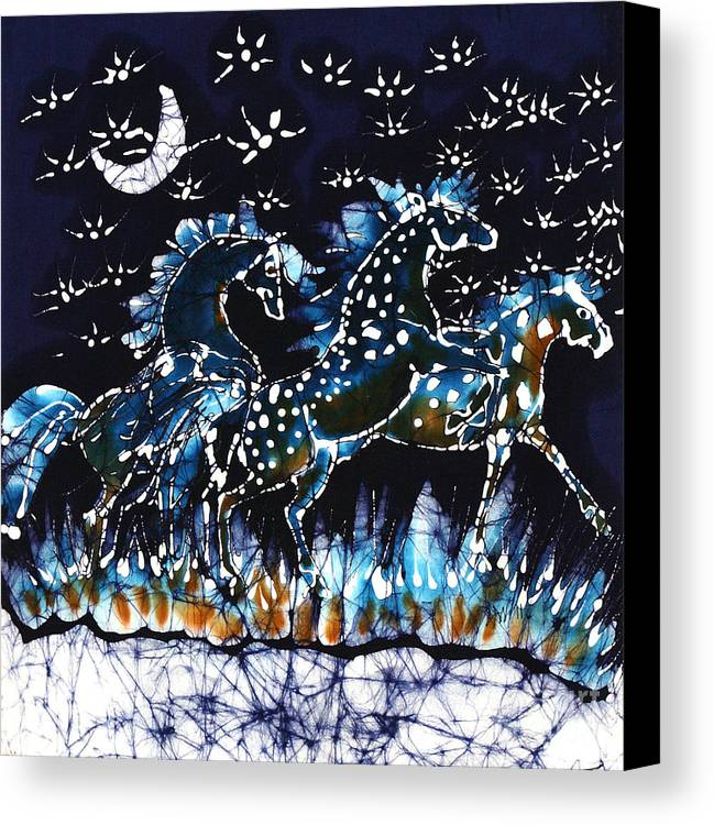 Horses Canvas Print featuring the tapestry - textile Horses Frolic On A Starlit Night by Carol Law Conklin
