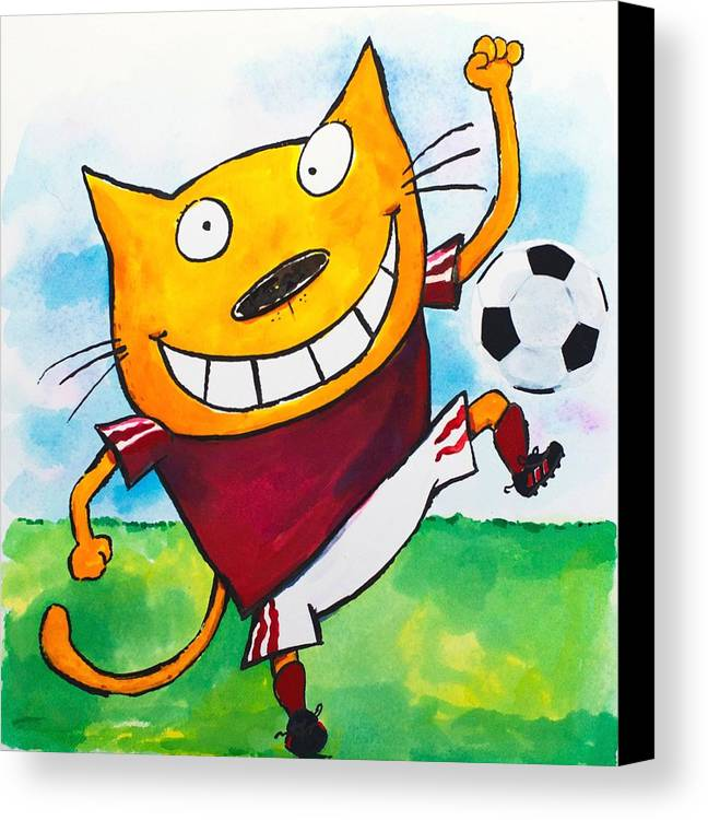 Cat Canvas Print featuring the painting Soccer Cat 2 by Scott Nelson