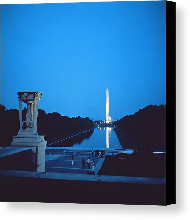Night View Of The Washington Monument Across The National Mall (photo)washington Canvas Print featuring the photograph Night View Of The Washington Monument Across The National Mall by American School