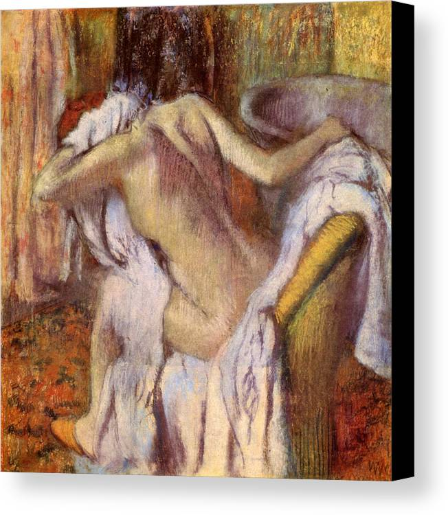 Bath Canvas Print featuring the painting After The Bath, Woman Drying Herself by Edgar Degas