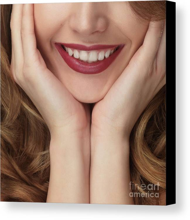 Smile Canvas Print featuring the photograph Beautiful Young Smiling Woman by Oleksiy Maksymenko