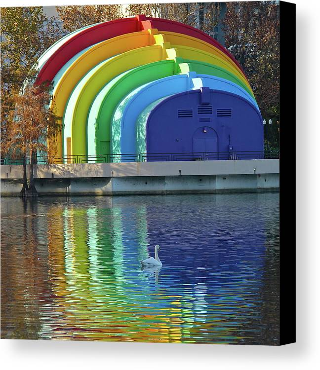 Band Shell Canvas Print featuring the photograph Colorful Bandshell And Swan by Denise Mazzocco