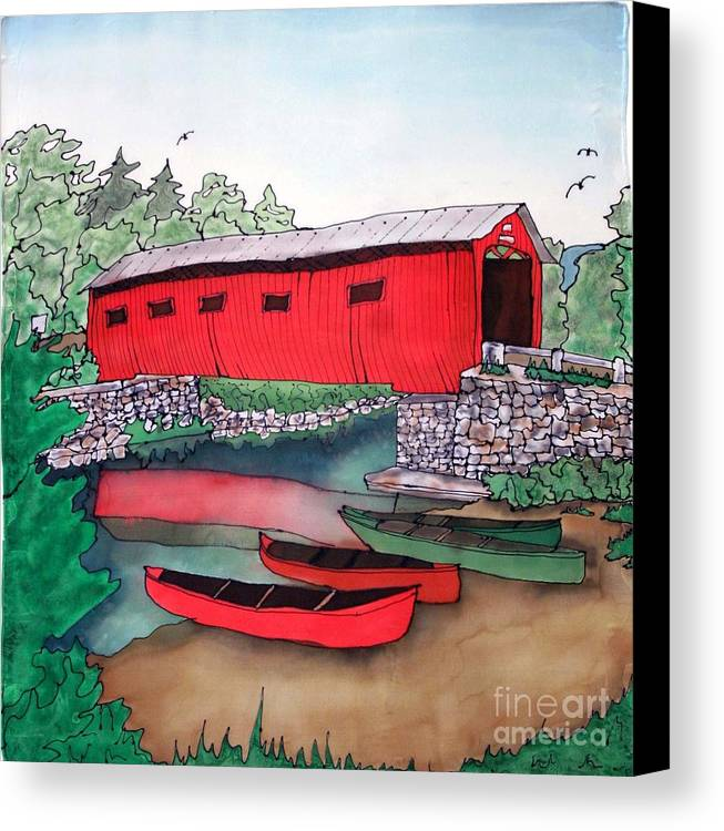 Covered Bridge Canvas Print featuring the painting Covered Bridge And Canoes by Linda Marcille