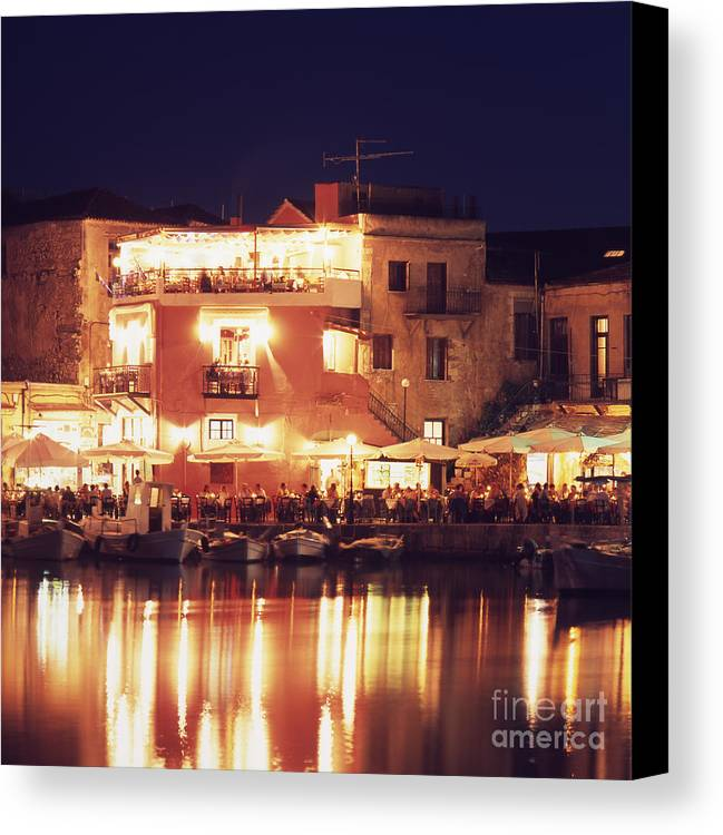 Crete Canvas Print featuring the photograph Crete. Rethymnon Harbor At Night by Steve Outram