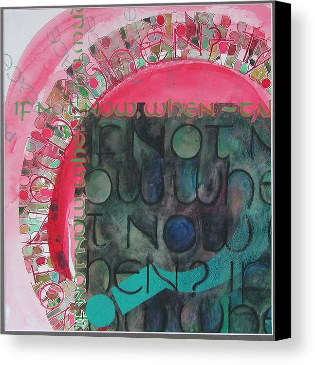 Calligraphy Canvas Print featuring the painting Crossroads...again by Sid Freeman