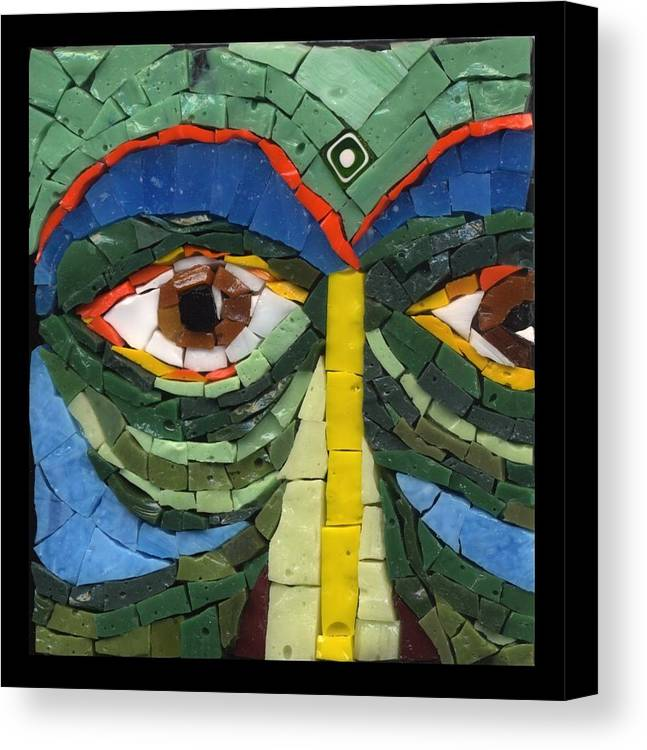 Mosaic Canvas Print featuring the painting Day Dreamer - Fantasy Face No. 8 by Gila Rayberg