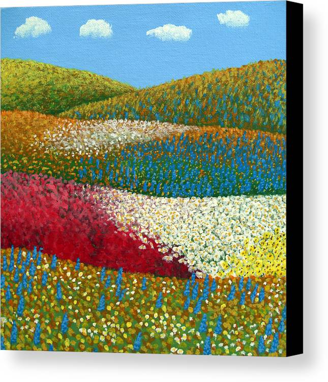 Landscape Painting Canvas Print featuring the painting Fields Of Flowers by Frederic Kohli