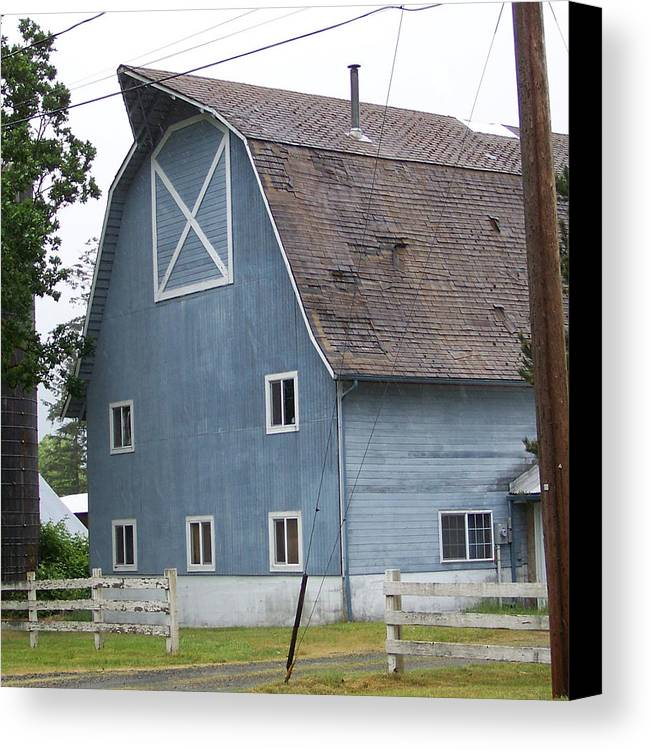 Old Canvas Print featuring the photograph Old Blue Barn Littlerock Washington by Laurie Kidd
