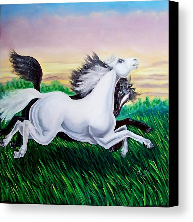 Horses Canvas Print featuring the painting Running Free by Kathern Welsh