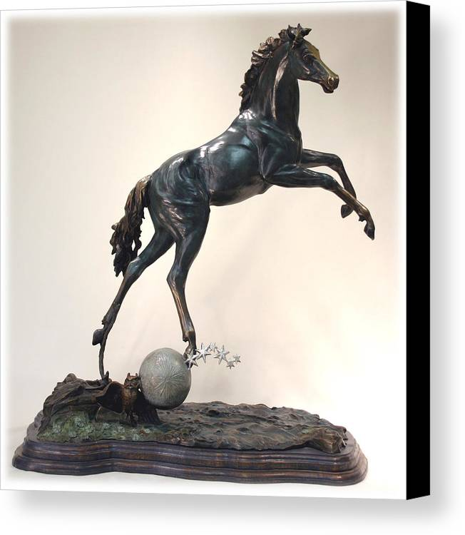 Bronze Canvas Print featuring the sculpture The Moonhorse Bronze by Dawn Senior-Trask