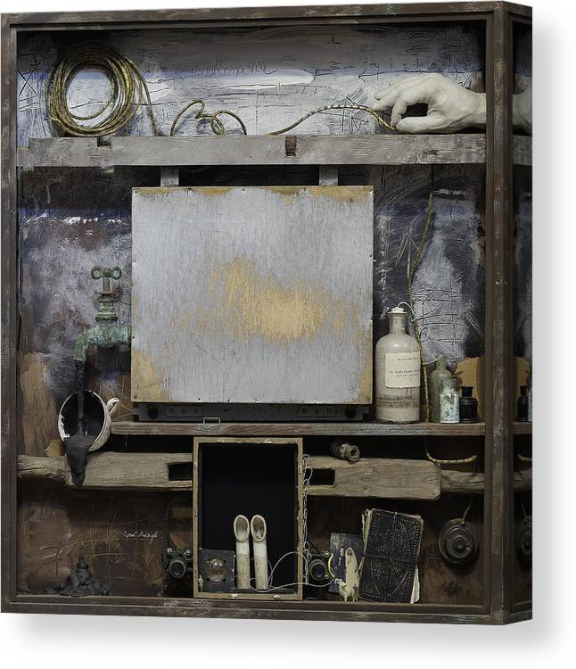 Canvas Print featuring the mixed media Cabinet Of Old Psychoanalyst by Sergey Meytuv