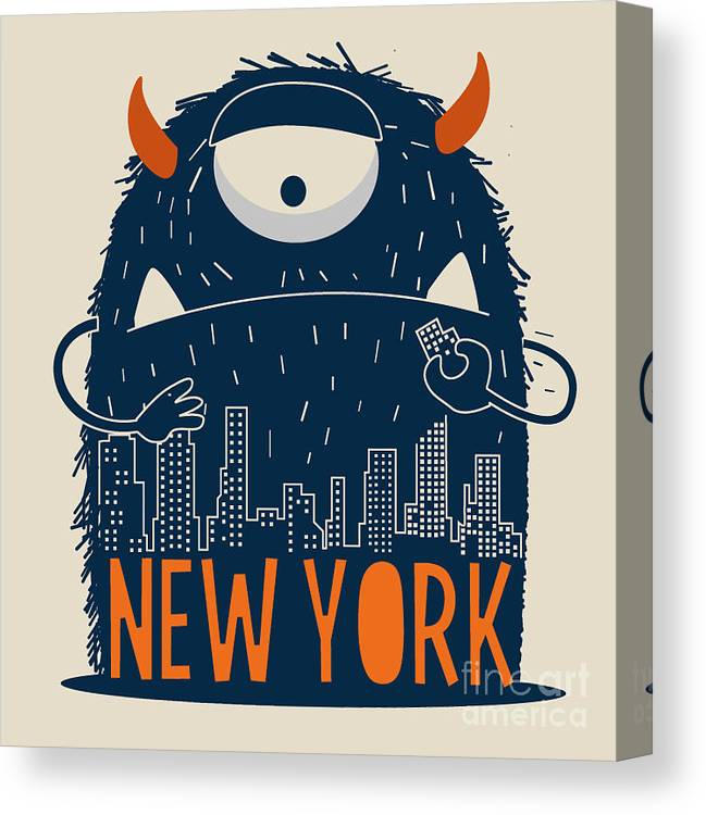 Symbol Canvas Print featuring the digital art Cute Monster Vector Character Design by Braingraph