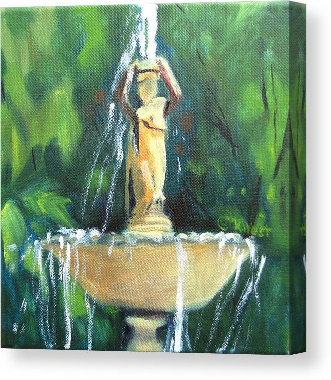 Fountain Canvas Print featuring the painting Fountain East Drive Woodruff Place by Katrina West