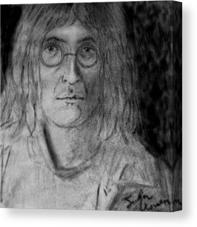 People Canvas Print featuring the drawing John Lennon Number 9 by Rodger Larson