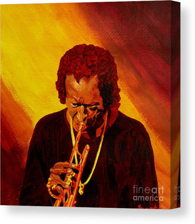 Miles Davis Canvas Print featuring the painting Miles Davis Jazz Man by Anthony Dunphy