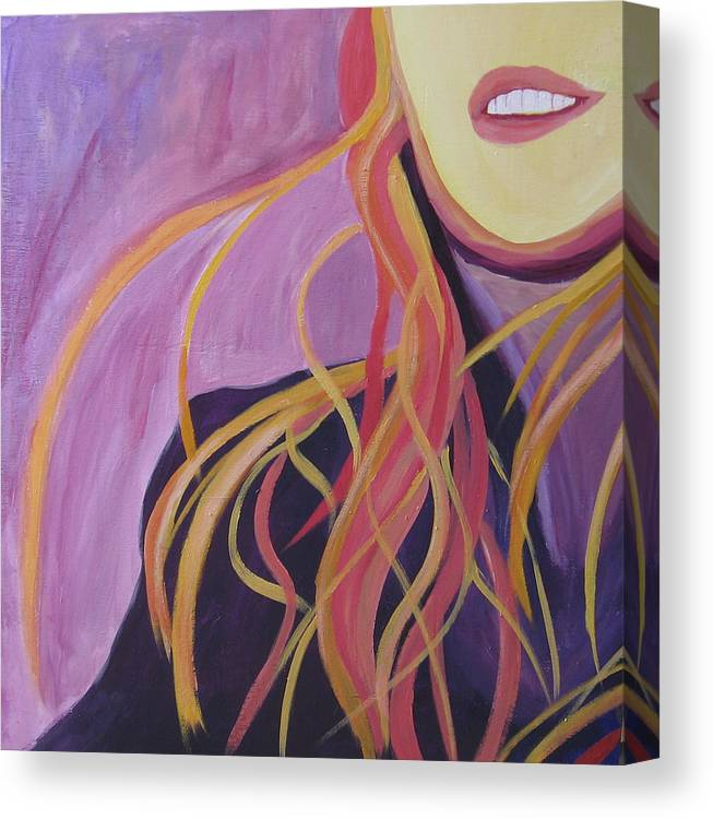 Portrait Canvas Print featuring the painting Smile by Ingrid Torjesen