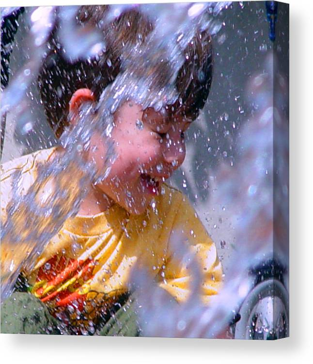 Water Fountain Canvas Print featuring the photograph Water Fountain Joy Three by Robert J Sadler
