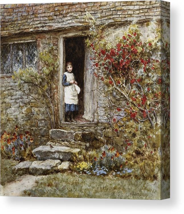 Corcorus Japonica Canvas Print featuring the painting Corcorus Japonica by Helen Allingham