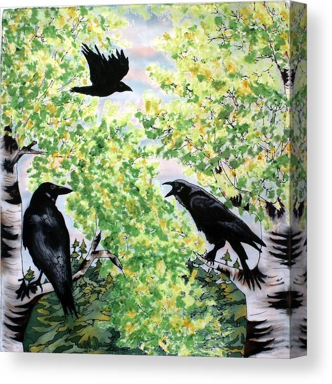 Ravens Canvas Print featuring the painting Imparting Wisdom by Linda Marcille
