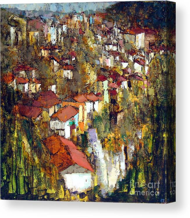 Landscape Canvas Print featuring the painting Veliko Tarnovo - Panorama by Michael Stoyanov