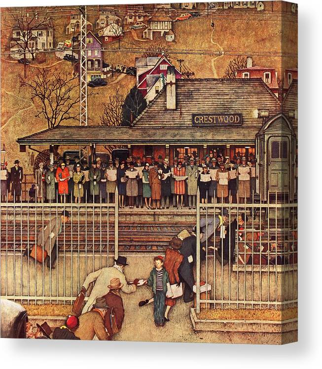 Commuters Canvas Print featuring the drawing Commuters by Norman Rockwell