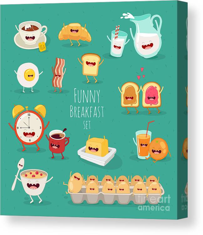 Lunch Canvas Print featuring the digital art Funny Breakfast Set. Comic Characters by Serbinka