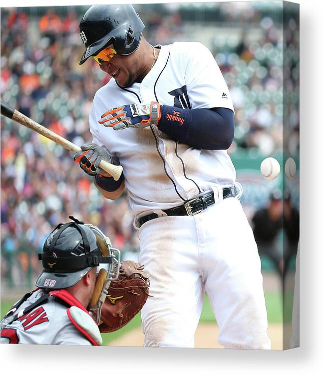 American League Baseball Canvas Print featuring the photograph Miguel Cabrera And Clay Buchholz by Leon Halip