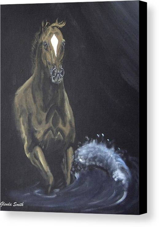Horse Canvas Print featuring the painting Surf Runner by Glenda Smith