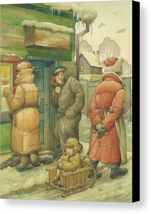 Russian Winter Canvas Print featuring the painting Russian Scene 07 by Kestutis Kasparavicius
