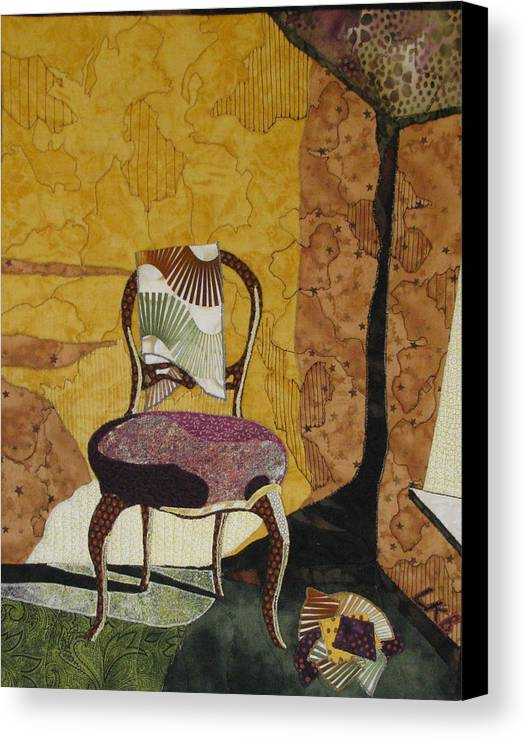 Art Quilts Tapestries Textiles Canvas Print featuring the tapestry - textile The Old Chair by Lynda K Boardman