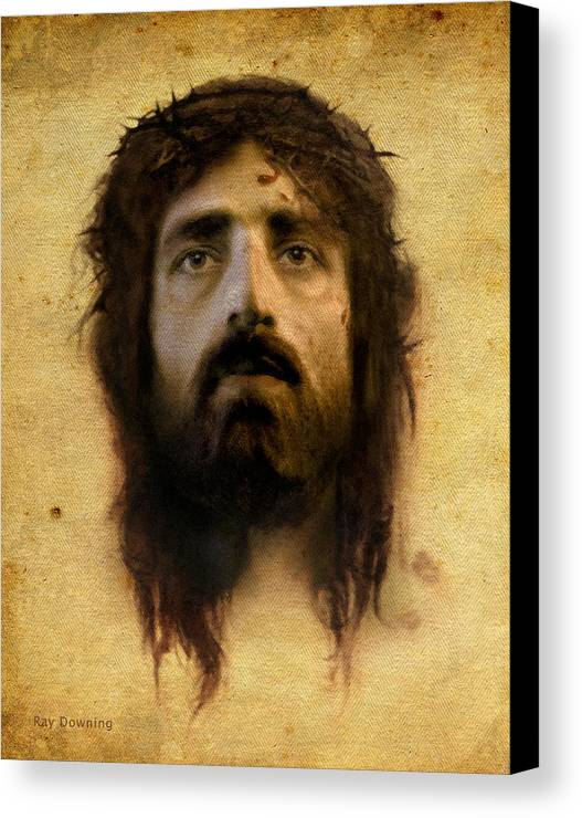 Jesus Canvas Print featuring the digital art Veronica's Veil by Ray Downing
