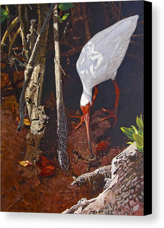 Waterfowl Canvas Print featuring the painting Sparring For Lunch by Peter Muzyka