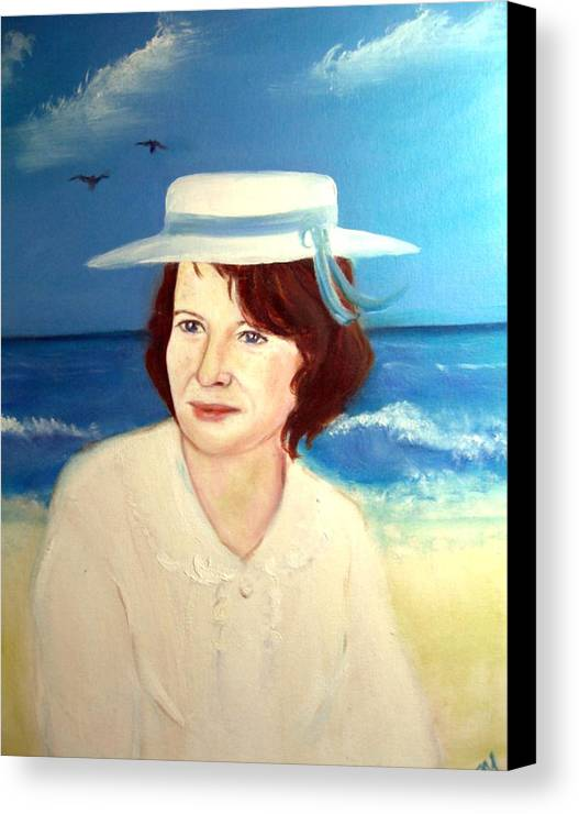 Landscape Canvas Print featuring the painting At The Beach In Deauville by Michela Akers